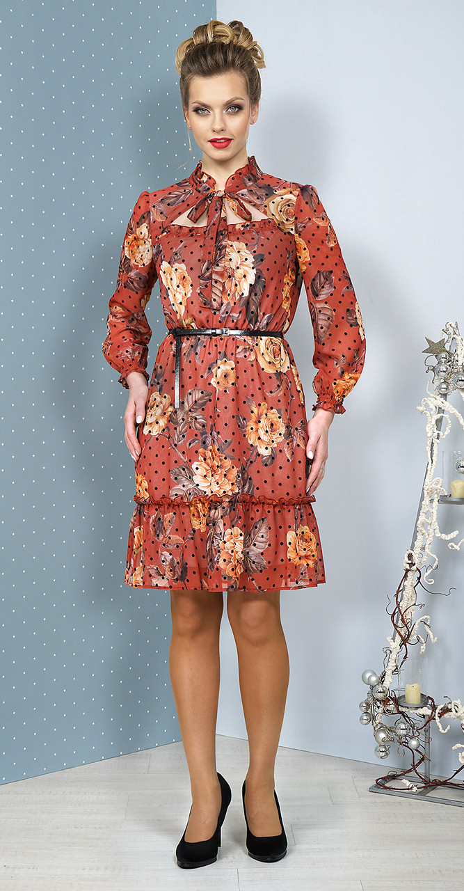 Платье Alani-1084/1, оттенки терракота, 44