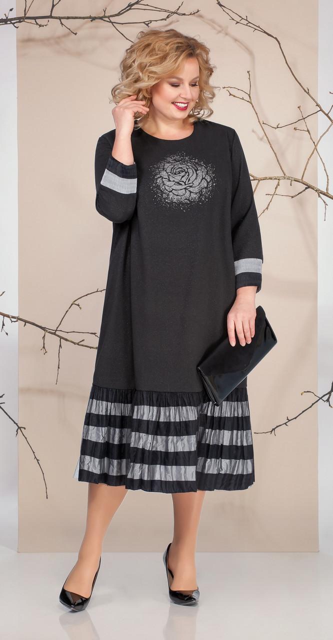 Платье Ивелта плюс-1670, черный, 54