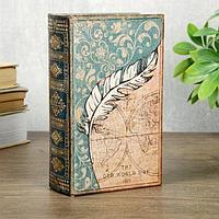 Книга сейф дерево кожзам Пёрышко и старинная карта