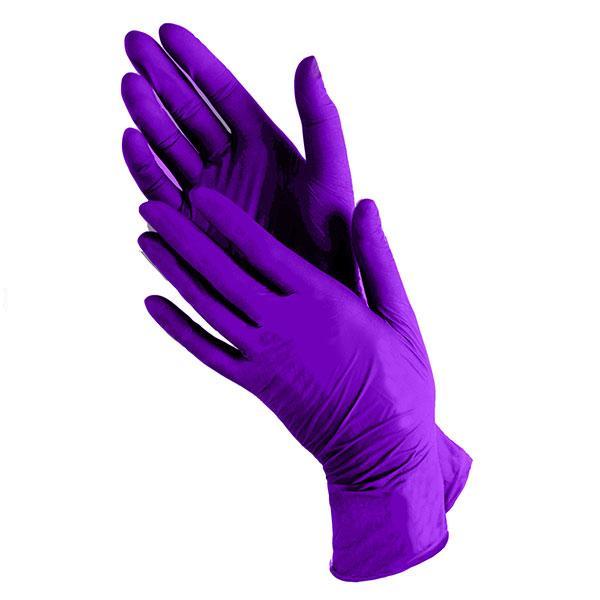 UNEX Перчатки нитрил смотровые, нестерильные фиолетовые 50 пар размеры XS,S,M,L.