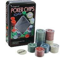 Покер, набор для игры, фишки 100 шт 11.5х19 см, фото 1