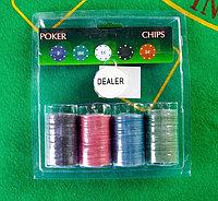 Фишки для игры в покер 100 шт, с/ номиналом, d=5 см, 4 г микс, фото 1