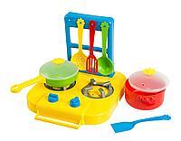 """Набор игрушечной посуды столовый """"Ромашка"""" с плитой 7 эл."""