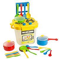 """Набор игрушечной посуды столовый """"Ромашка"""" с плитой 25 эл."""