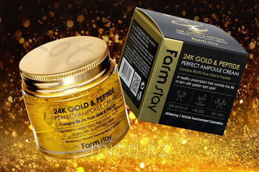 Антивозрастной ампульный крем для лица с золотом и пептидами FarmStay 24K Gold & Peptide Perfect Ampoule Cream