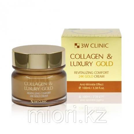 Омолаживающий крем для лица с коллагеном и коллоидным золотом,3W Clinic Collagen & Luxury Gold Revitalizing Co