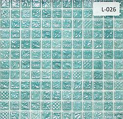 Перламутровая мозаичная плитка голубой светлый