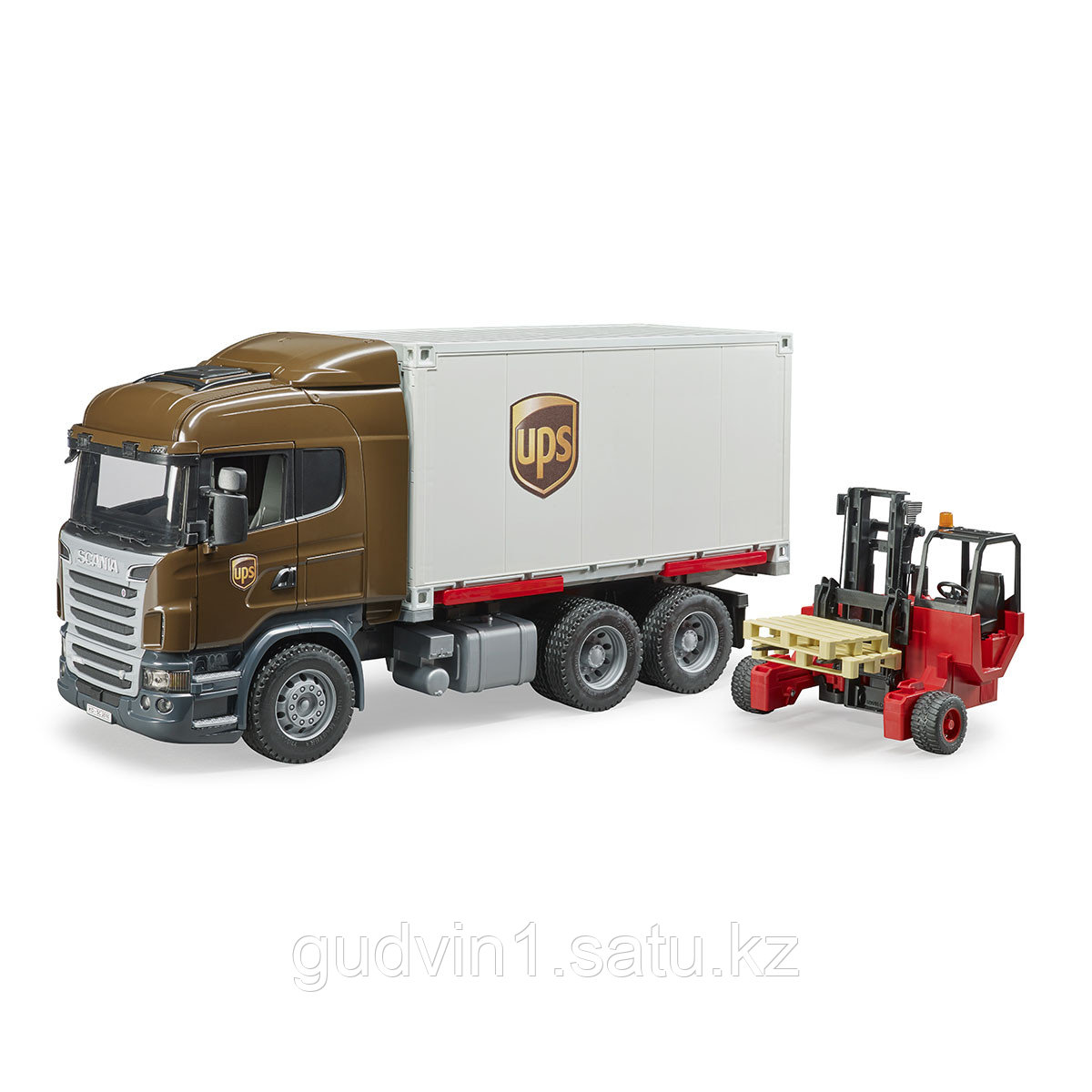 Scania фургон UPS Bruder с погрузчиком и паллетами 03-581