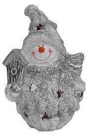 Садовая статуэтка снеговик со скворечником Н-20см L-16см