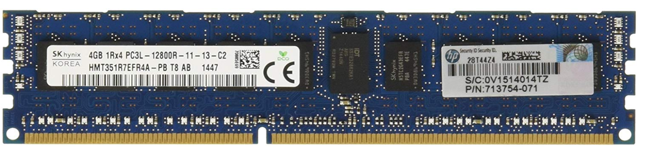 Память HP/4 Gb/DDR3/1600 MHz/Single Rank x4 PC3L-12800R  Registered