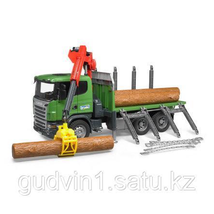 Лесовоз Scania с портативным краном и брёвнами Bruder 03-524