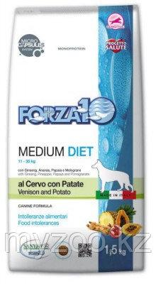 Forzа10 Medium Diet cerpat, Форца10 диетический корм из оленины и картофеля для собак средних пород, уп. 12кг