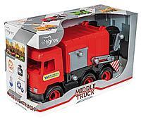 """Авто """"Middle truck"""" мусоровоз (красный) в коробке"""
