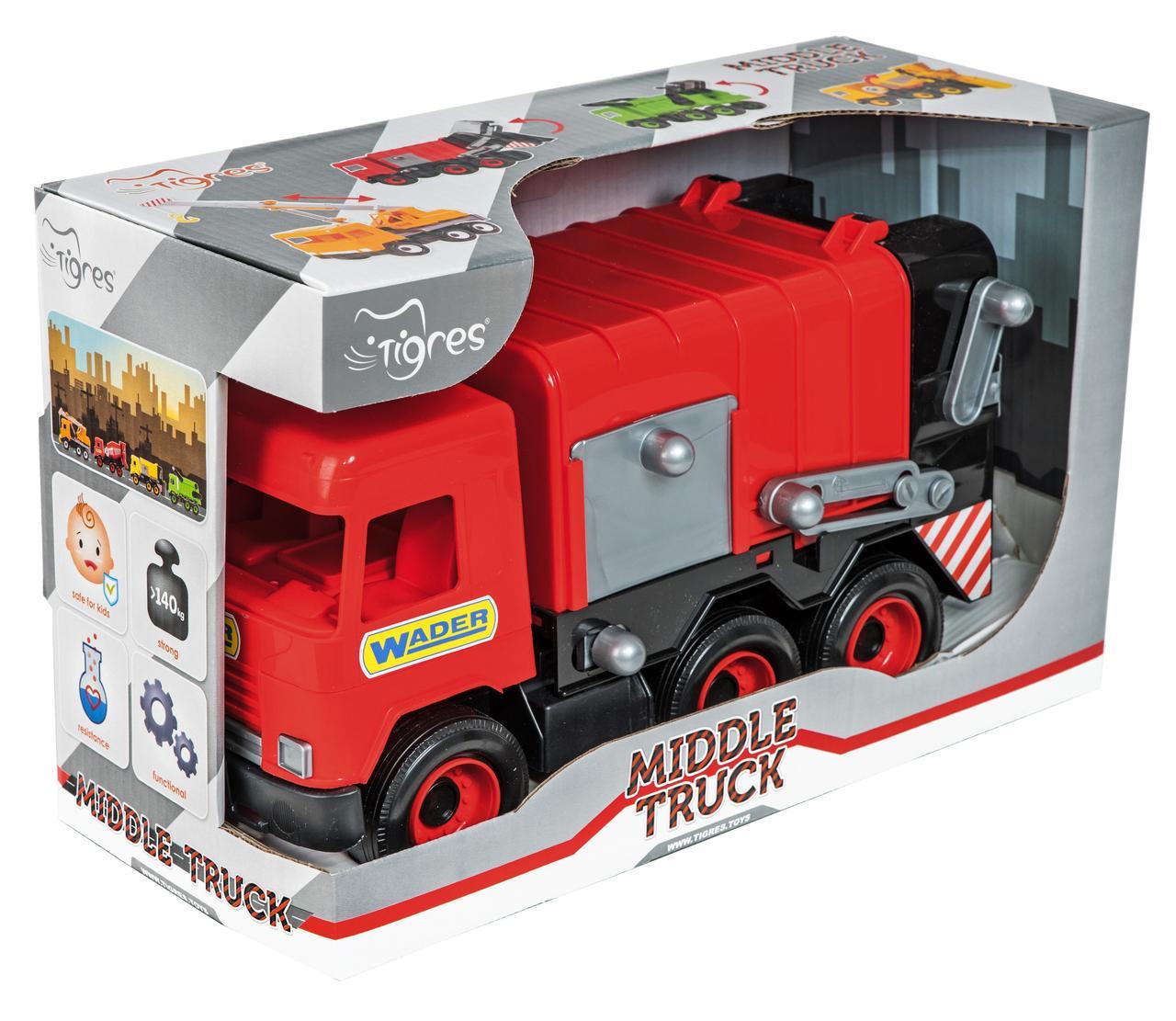 """Авто """"Middle truck"""" мусоровоз (красный) в коробке - фото 1"""