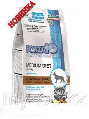 Forza10 Medium Diet Low Grain Cavallo/ piselli, Форца10 корм для собак средних пород с кониной 12 кг