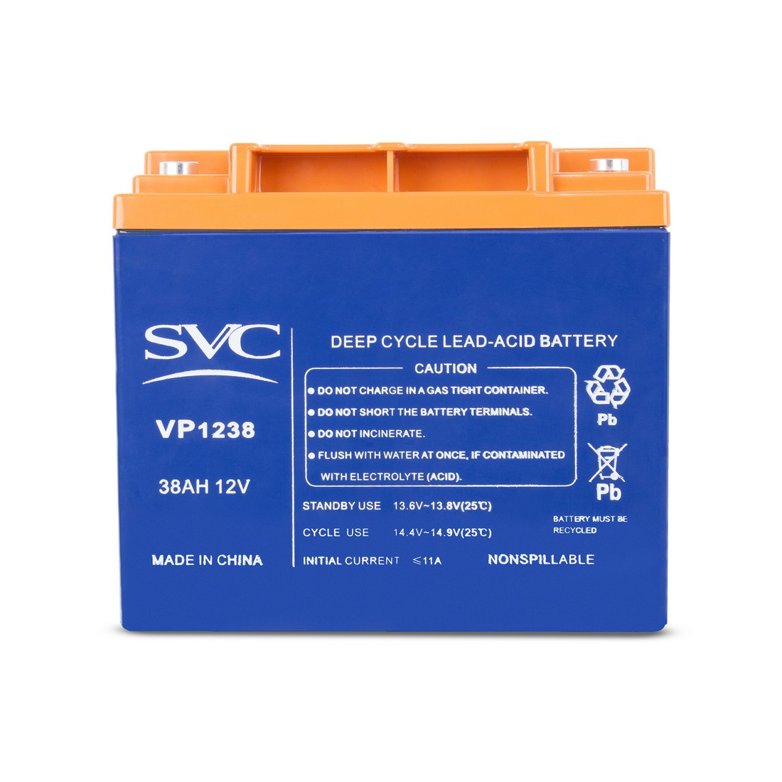 Батарея SVC свинцово-кислотная VP1238 12В 38 Ач