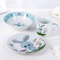 Набор детской посуды «Крош», 3 предмета: кружка 230 мл,миска 400 мл, тарелка 18 см