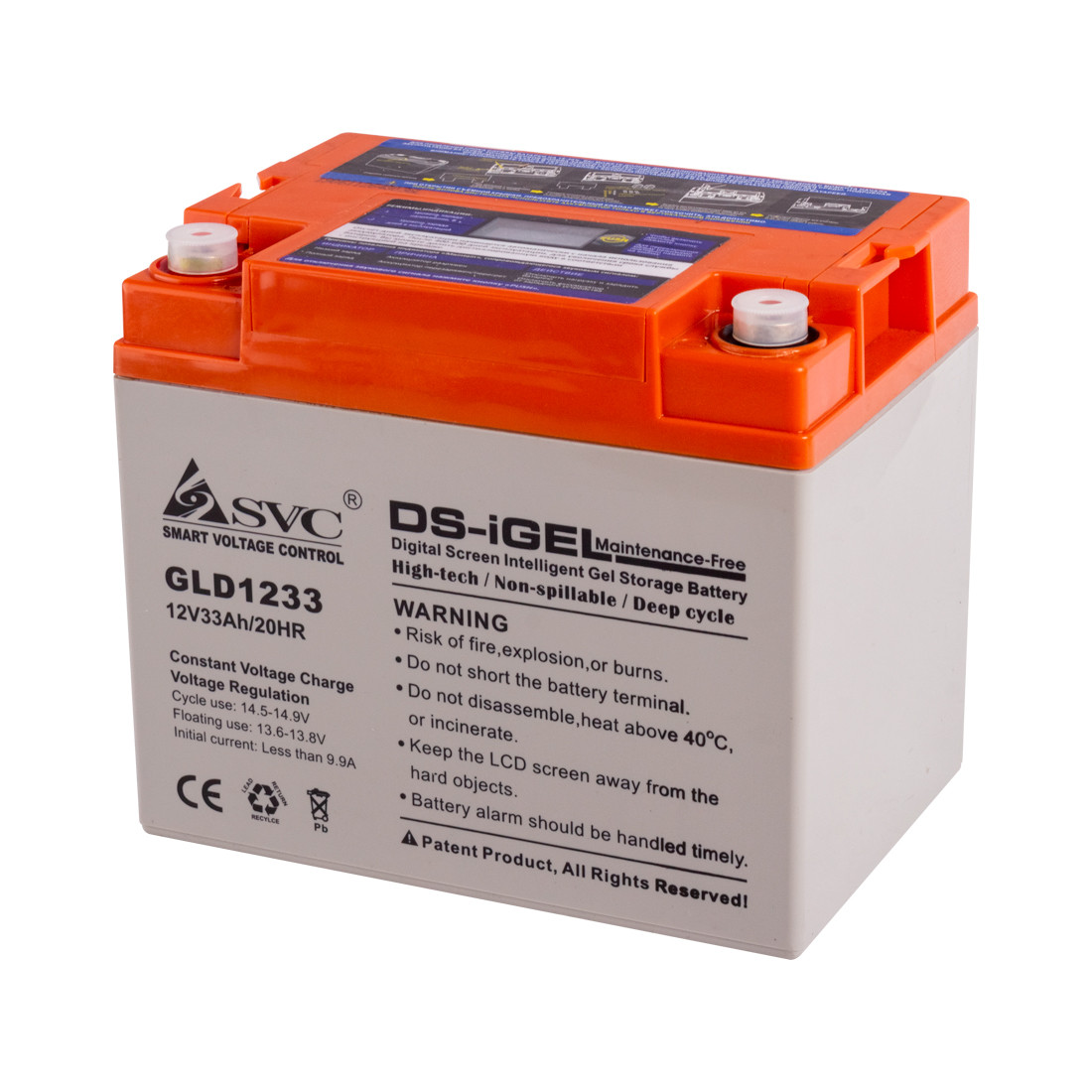 Батарея SVC GLD1233 гелевая 12В 33 Ач LED-дисплей
