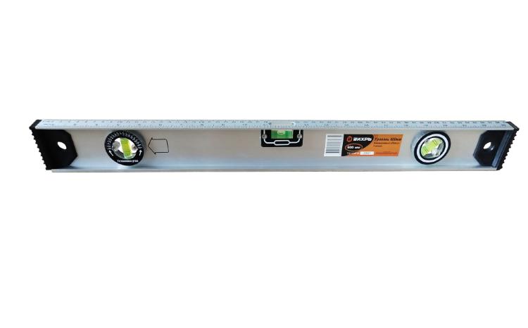 Уровень алюминиевый «Рельс» 600мм 3 глазка фрезерованный
