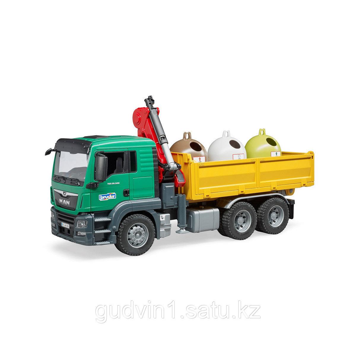 Самосвал MAN Bruder c 3 мусорными контейнерами 03-753