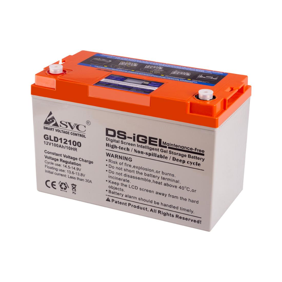 Батарея SVC GLD12100 гелевая 12В 100 Ач LED-дисплей