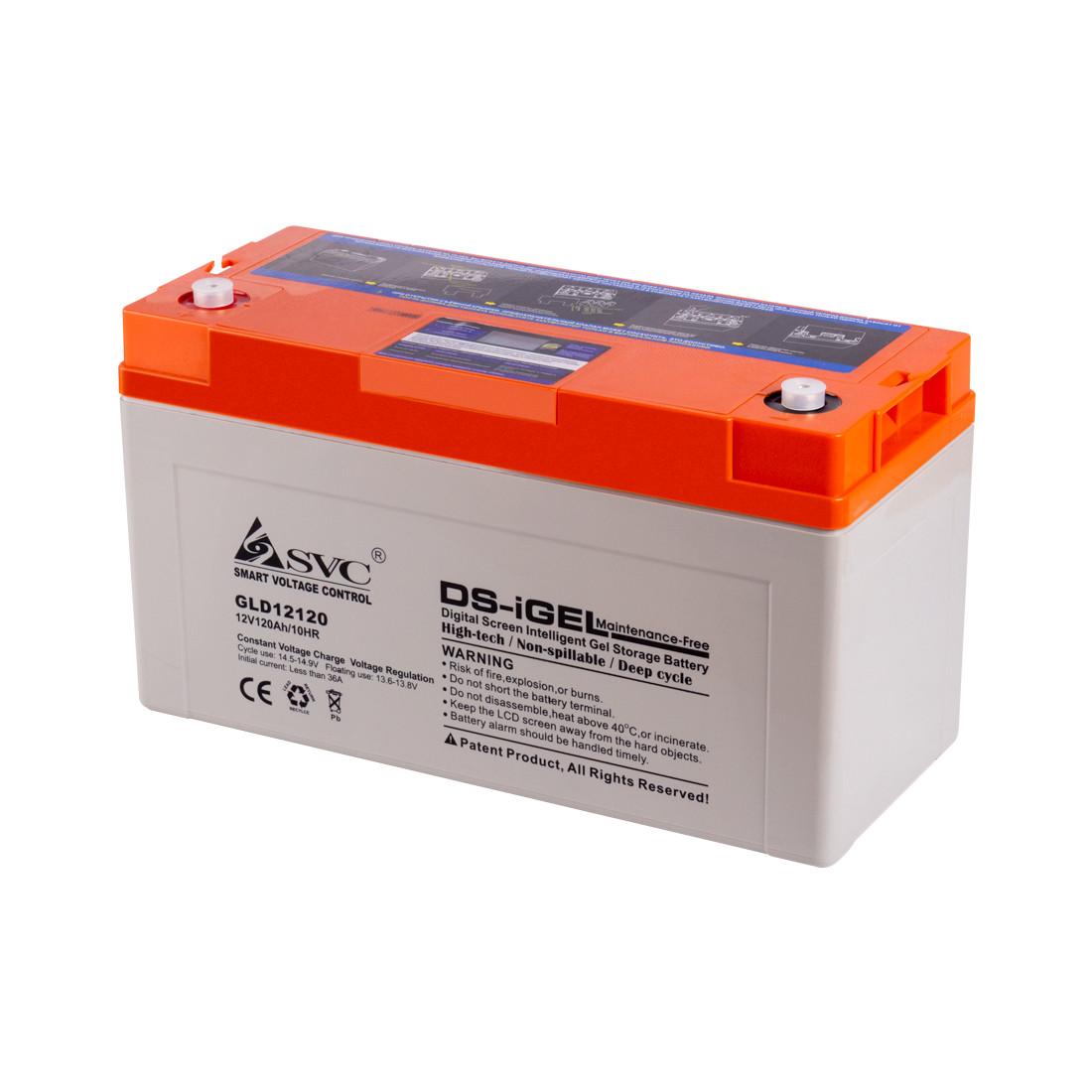 Батарея SVC GLD12120 гелевая 12В 120 Ач LED-дисплей