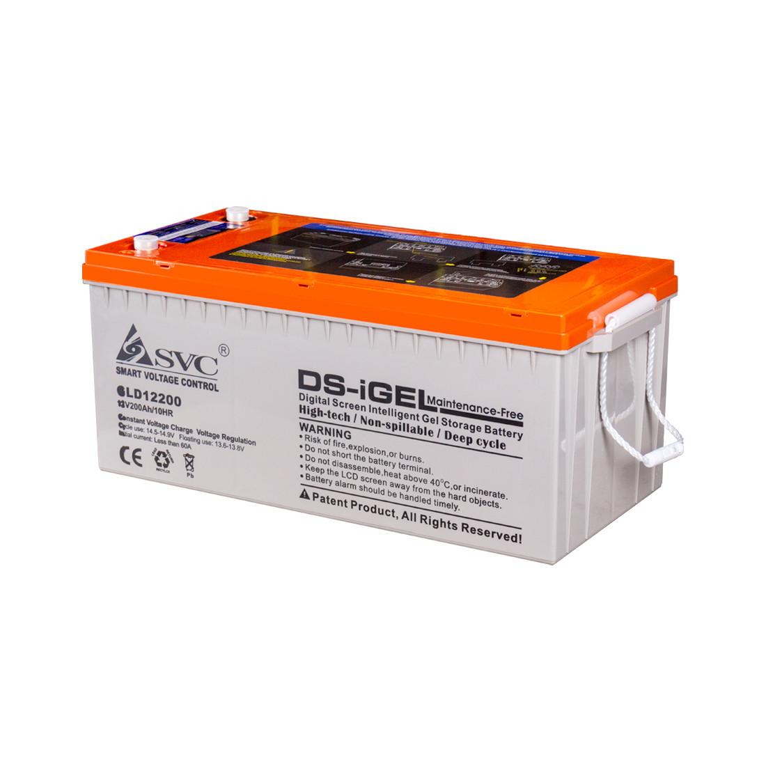 Батарея SVC GLD12200 гелевая 12В 200 Ач LED-дисплей
