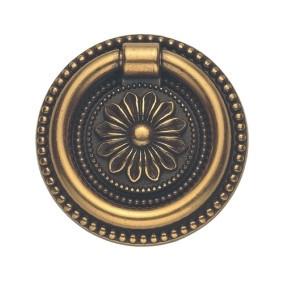 Ручка-кольцо, 'Louis XVI' D49мм, латунь пат., кругл. накл., винт,