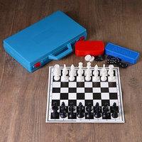 Настольная игра 3 в 1 'В дорогу' шахматы, домино, шашки (2 доски из картона 29х29 см)