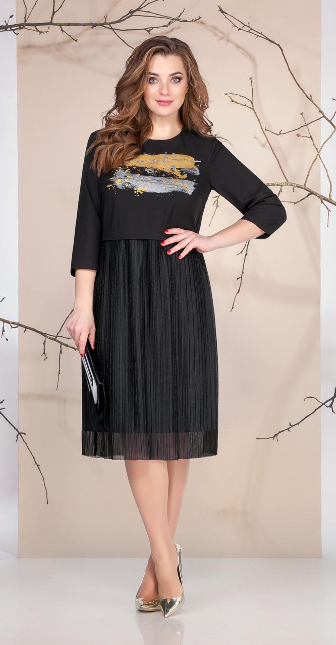 Платье Ивелта плюс-1668, черный, 48