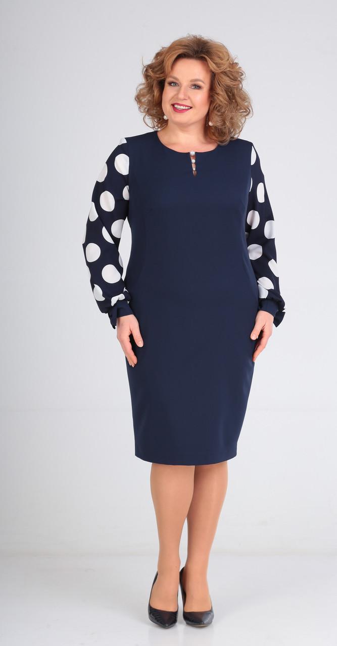 Платье Диамант-1492, тёмно-синий, 52