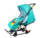 Cанки - коляска Ника Disney baby 1 Винни изумрудный, фото 3