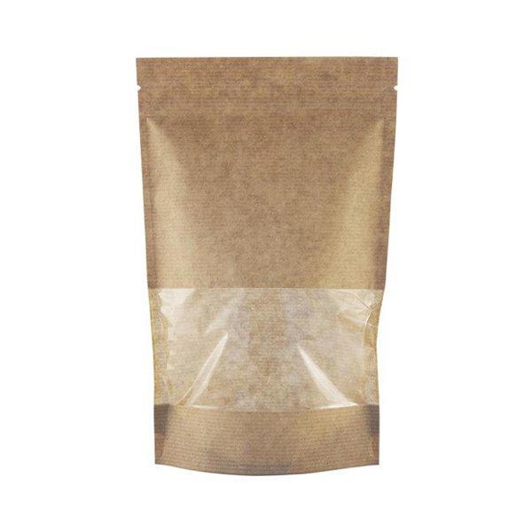 """Пакет бумажный """"Дой-пак""""150х240+(40+40)мм,КРАФТ, с ЗИП замком,окно 70мм, 500 шт"""