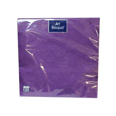 "Салфетки 33х33см, 3 сл., ""Барокко"", фиолет., с тиснен., Бумага, 16 шт, фото 2"
