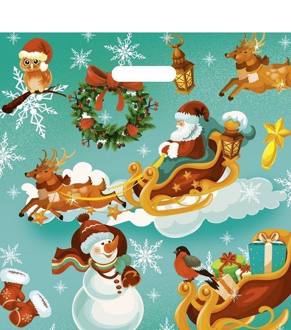 """Пакет (мешок) проруб. ПВД 44х44см, 60мкм, """"Новогодние сани"""", 25 шт"""