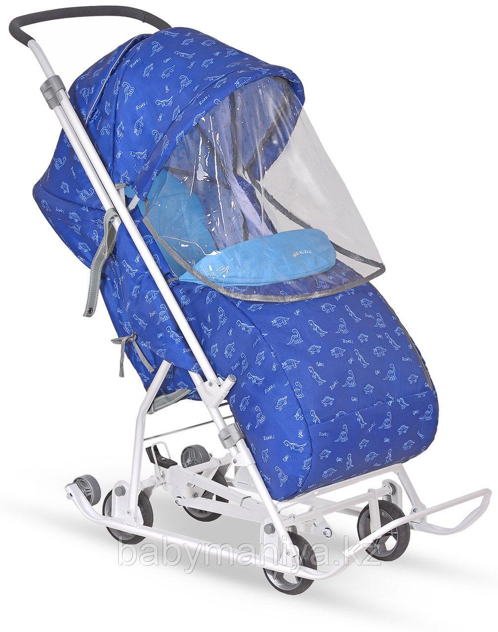 Санки-коляска Ника Умка 3-1 Динозаврики синий