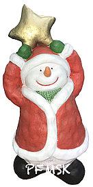 Садовая статуэтка снеговик со звездой  Н-54см