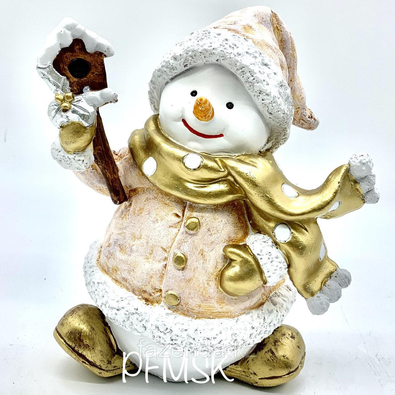 Садовая статуэтка снеговик со скворечником Н-23см