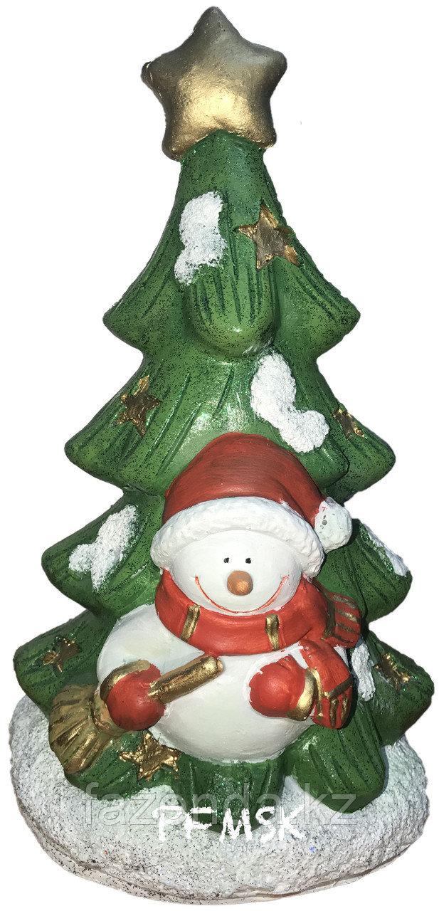 Садовая статуэтка елочка со снеговиком  Н-27