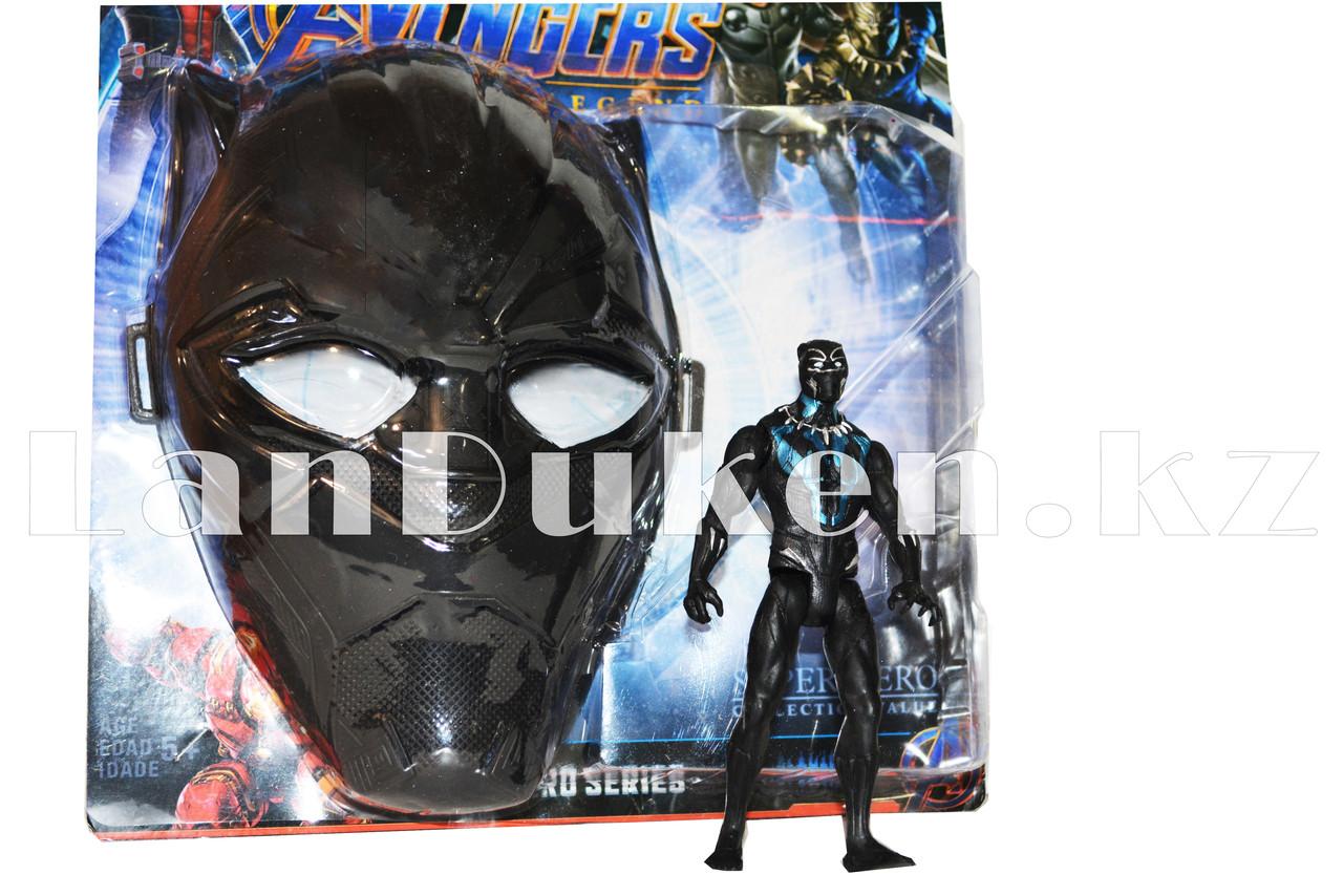 Набор детская маска и фигурка Черная Пантера 15 см серия Мстители - фото 3