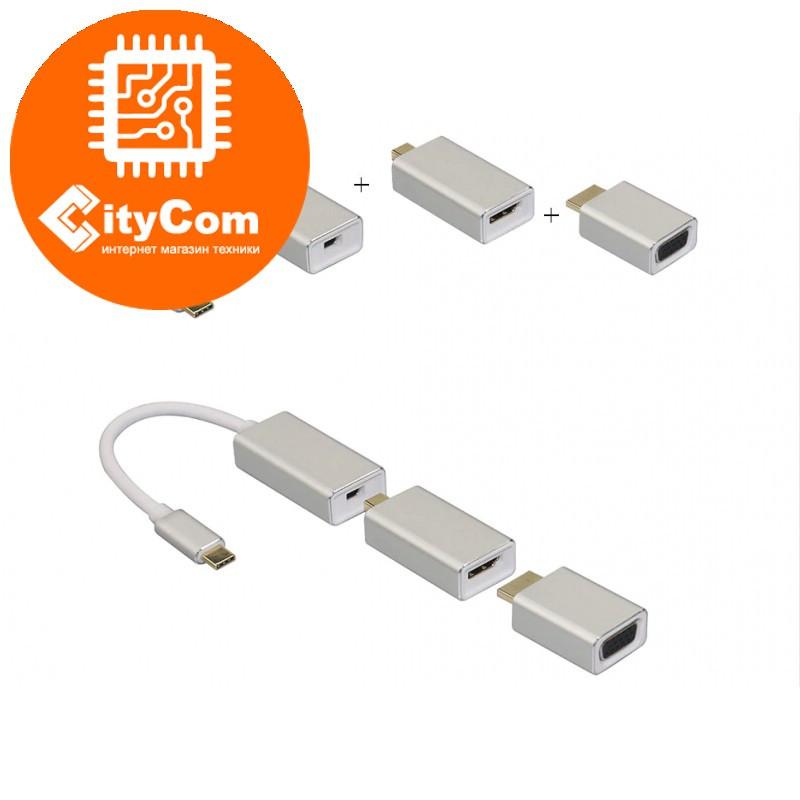 Адаптер (переходник) USB type-C To Displayport to VGA to HDMI cascade Adapter. Конвертер.