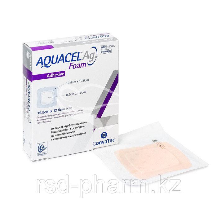 Аквасель Фоум с серебром с силиконовым адгезивом (Aquacel Foam Ag, adh) 12,5 х12,5 см