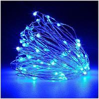 Гирлянда новогодняя светодиодная - 10 метров, 80 лампочек, голубой свет, светит постоянно