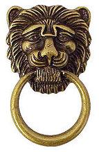 Ручка-кольцо, 'Лев с кольцом', 'Empire' 87х50мм, латунь пат., накл., винт, 12500.08700.03