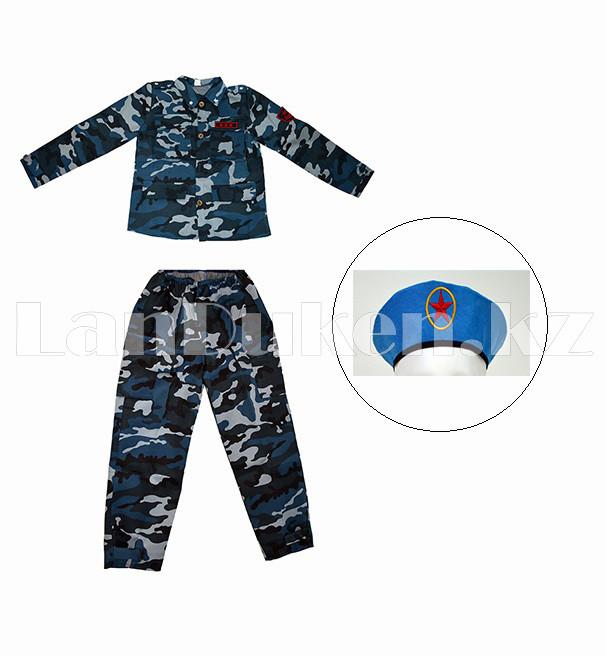 Костюм военный детский камуфляжный синий - фото 1