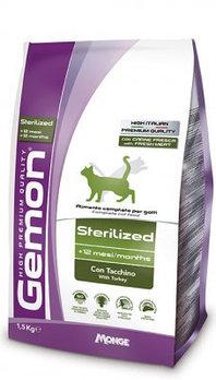 Gemon Cat Sterilised, корм для стерилизованных и кастрированных кошек, уп. 1,5кг.