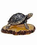 Фигурка Черепаха средиземноморская. Подставка из янтаря. Ручная работа, фото 2
