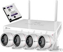 EzWireLessKit 4CH - Комплект видеонаблюдения из Wi-Fi-регистратора Ezviz X5C 4C, 4-х Wi-Fi-камер Ezviz Husky Air FHD и жёсткого диска WD10PURX - 1Tб.