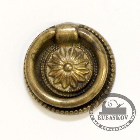 Ручка-кольцо, 'Louis XVI' D37мм, латунь пат., кругл. накл., винт, 12224.03700.03