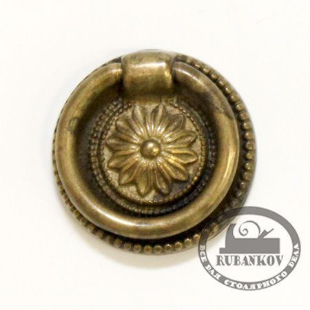 Ручка-кольцо, 'Louis XVI' D37мм, латунь Флоренс., кругл. накл., винт, 12224.03700.09